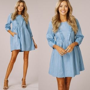 VANDA Ruffle Chambray Dress - LT. DENIM
